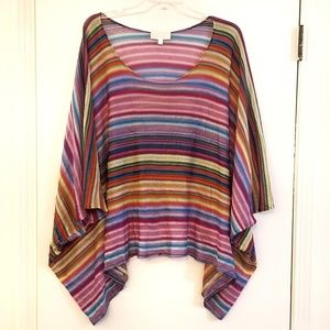 Alexis Poncho Batwing Top Multicolored Stripes